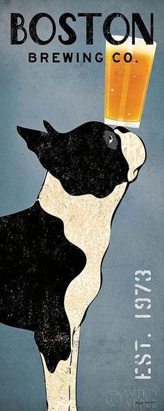 BOSTON TERRIER DOG BREWING COMPANY Co. Retro Advertising Poster Art Print