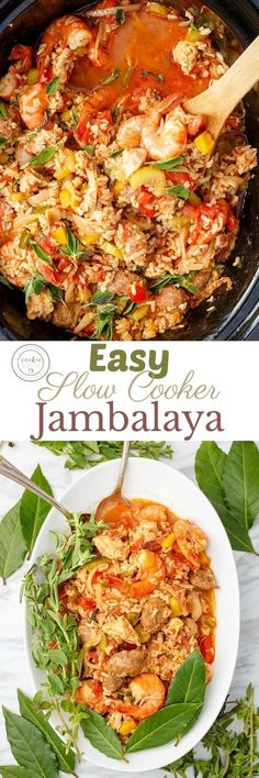 Easy Slow Cooker Jambalaya | http://thecookiewriter.com | @thecookiewriter | #sponsored | Easy. healthy, and packed full of chicken, shrimp, and sausage, you can order your groceries straight to your door to make this recipe (or venture out and beat the crowds!) Easily made gluten-free (but my recipe uses brown rice.) Perfect for back-to-school or summer days where you don't want to heat your house!