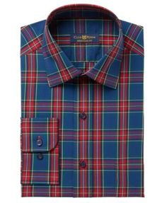 Club Room Men's Classic-Fit Wrinkle Resistant Plaid Dress Shirt, Created for Macy's - Tan/Beige 15.5 32/33
