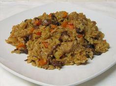 Hubové rizoto s bravčovým mäsom