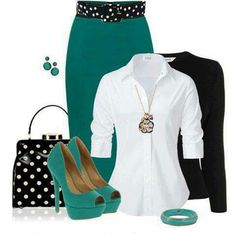 Love the teal with the black and white polka dot.... fun.