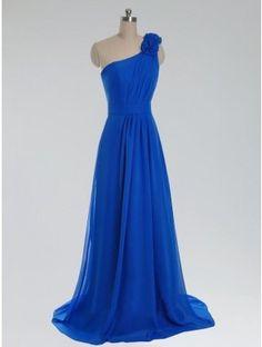 One shoulder long royal blue prom dress
