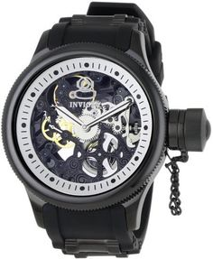 Invicta Russian Diver Mechanical Skeleton Dial Black Mens Watch 1091 invicta-watches
