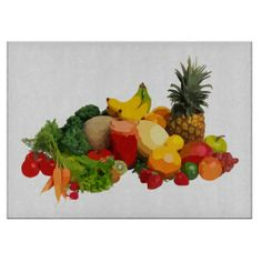 Fruits and Vegetables Glass Cutting Board