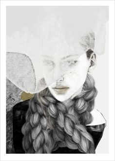 Braids, art print by Anna Bülow. Drawing, portrait, collage, braids, fläta, contemporary, ink, watercolor www.artbylove.no