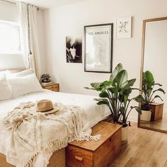 Pretty neutral colored bedroom.