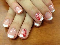 #valentinenails #gel #byjamie #redhearts #whitetip