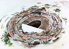 """Rob Sato """"The Open End"""", watercolor on Arches paper, 22.5"""" x 32"""" (click image to enlarge), 2011"""
