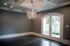 awesome ceiling!!!!! Dark Gray Walls - Transitional - dining room - Muralo Pain Majestic Sky - Michelle Winick Design
