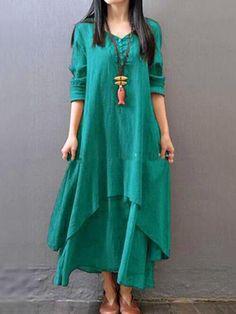08d7d2df40c Casual Asymmetric Long Sleeve Plus Size Maxi Linen Dress