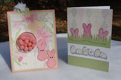 CTMH Easter Card using Lucy paper and My Peeps stamp set