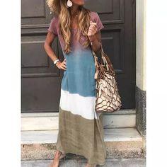 US$ 19.99 - Casual Four-Color Gradient V-Neck Short-Sleeved Dress - m-mofylook.ishopyy.com