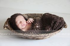 Crochet Baby Girl Hooded Cocoon Newborn Boy Pod Infant Cacoon Photo Prop Taupe Brown