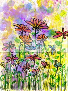 Go Wild digital collage printable download flowers garden colorful Robin Mead. $1.50, via Etsy.
