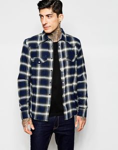 """Check shirt by Only & Sons Brushed cotton Point collar Press-stud placket Fastened chest pockets Curved hem Regular fit - true to size Machine wash 100% Cotton Our model wears a size Medium and is 185.5cm/6'1"""" tall"""