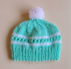 Minty Baby Knit Hat.  Cute pattern, but I would alter to knit on circular needles.