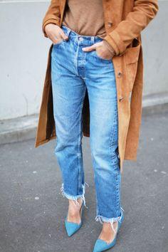 Bắt mắt với quần jeans ống suông mix cùng giày cao gót