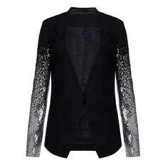 New  Autumn Women Jacket Coat Work Blazers Suit Long Sleeve Lapel Silver Black Sequins Elegant Ladies Blazer feminino - Black, XXL Who like it ? Get it here