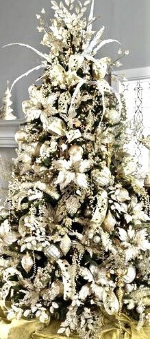 Check Out 25 White And Silver Christmas Tree Decorations Ideas. Silver and white colors are the best ones to remind of icy winter days. They are amazing for décor – white snowflakes, silver garlands and, of course, white Christmas tree decorations! Elegant Christmas Trees, Silver Christmas Tree, Ribbon On Christmas Tree, Christmas Tree Themes, Noel Christmas, Christmas Tree Toppers, Christmas Tree Decorations, Xmas Tree, Christmas Style