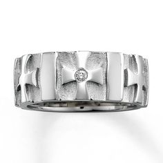 Mens 9mm Cross Ring Diamond Accent Stainless Steel