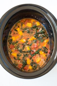 A simple and delicious plant-based meal, Slow Cooker Butternut Squash, Kale & Quinoa Stew is hearty, nourishing and packed with all the good stuff.