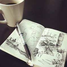 Along with black clothes, round glasses and a perpetual lack of sleep, it is one of the profession's greatest clichés: All architects love coffee. As today i. Interior Design Sketches, Sketch Design, Moleskine, Creepy Drawings, Building Sketch, Architecture Sketchbook, House Drawing, Hand Sketch, Technical Drawing