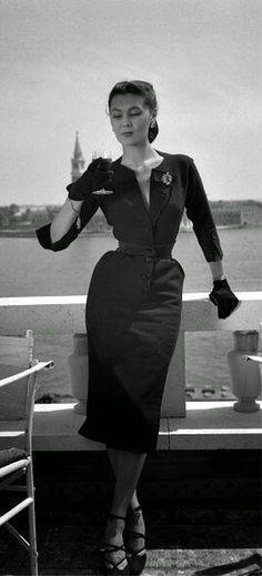 1951 | March, 5 | LIFE magazine Christian Dior dress from the spring/summer collection | The model is Sylvie Hirsch Source: LIFE maga... vintage fashion