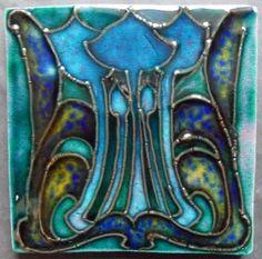 TH2541 Amazing Blues Sherwin Cotton Arts Crafts Art Nouveau Tubeline Tile