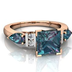 $500 Lab Alexandrite Engagment 14K Rose Gold ring C2002 - front view