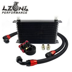 78.72$  Buy now - http://alidvf.worldwells.pw/go.php?t=32787221145 - LZONE- Universal 13 ROWS Trust type OIL COOLER + AN10 Oil Sandwich Plate Adapter with Thermostat + 2PCS NYLON BRAIDED HOSE LINE 78.72$