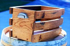 This one of a kind wine stave basket can be used for anything from magazines, wine, towels, etc. It is made from reclaimed Napa Valley wine barrels. Wine barrels are made from quarter sawn oak which a