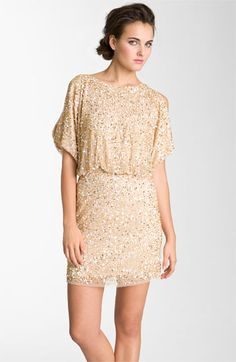 Aidan Mattox Bloused Sequin Cold Shoulder Dress - yes, I wear sequins in the summer.  Sun is higher, bling is brighter.