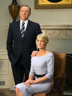 Partners in crime: Kevin Spacey as President Frank Underwood and Robin Wright as his wife Claire in House of Cards Frank Underwood, Claire Underwood Style, Elisabeth Moss, House Md, Helen Mirren, Cindy Crawford, Michelle Obama, Robin Wright Haircut, Melania Trump Dress