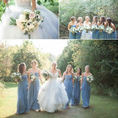 A magical wedding in the woods @Cedarwood Weddings. Love the bridesmaids dusty blue dresses. Wedding photography by Krista Lee Photography. From Alison & Jesse's wedding. #cedarwoodweddings #bridesmaids    Bride's Dress: @Allure Bridal (Style 9425)        Hair/makeup - @Amy Lynn Larwig   Bridesmaids- @David's Bridal   @Vera Wang   Wedding Ceremony and Reception- @Cedarwood, Nashville TN      Floral and Design: @Cedarwood, Nashville TN