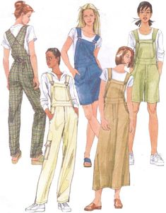 McCalls Sewing Pattern 2244 Womens Overalls and Jumper in Two Lengths Size 10 12 14 Bust 32 to 36 Bib Front Overalls Mccalls Sewing Patterns, Vintage Sewing Patterns, Clothing Patterns, Dress Patterns, Vogue Patterns, Sewing Clothes, Diy Clothes, Patron Vintage, Vintage Outfits