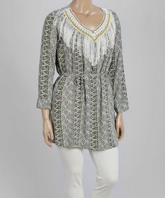 Look what I found on #zulily! Gray & White Geo-Stripe Crochet Fringe Tunic - Plus by Highness NYC #zulilyfinds