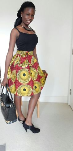 African Print Yellow & Black Skirt with Bow  Look at this on eBay  http://www.ebay.co.uk/itm/122073819247
