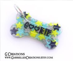 Starry Bone Dog Tag in Custom Colors  by GabriellesCreations 30% #DISCOUNT #coupon #code 2015WISHES