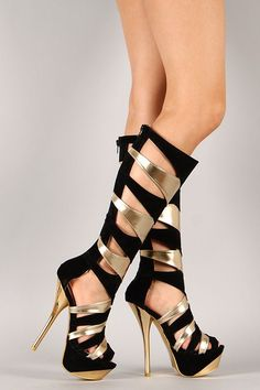 Parthenia-10 Two Tone Gladiator Knee High Stiletto Platform Heel