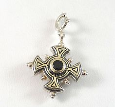 Sterling Silver Faceted Topaz Two-Tone Dot Cross Charm Pendant (4.1g) - 204231