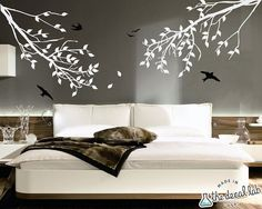 Branches and Birds Vinyl Wall Decal Set - Two Color - Nature Wall Stickers via Etsy