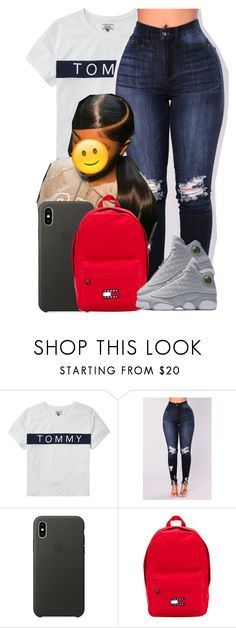 """""""Contest"""" by jalay ❤ liked on Polyvore featuring Tommy Hilfiger, Apple and NIKE"""