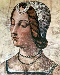 Portrait of Laura, celebrated in his poetry by Francesco Petrarca (1304-1374), Italian poet and humanist. Portrait in the Laurentian Library, Florence
