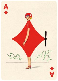 Ace Diamonds Playing Card Illustration by Jonathan Burton