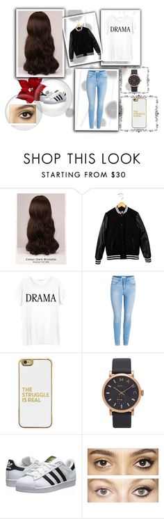 """"""" Comfortable and Chill """" by nadiak-25 ❤ liked on Polyvore featuring Komar, WigYouUp, MSGM, Junk Food Clothing, BaubleBar, Marc Jacobs, adidas Originals and Charlotte Tilbury"""