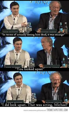 """That was acting, Michael!"" Daniel Radcliffe and Michael Gambon on Dumbledore's death scene in Harry Potter and the Halfblood Prince."