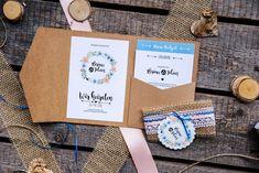 Pocket-Fold-Einladung Kraftpapier Flyer, Grafik Design, Invites Wedding, Kraft Paper, Pastel, Getting Married, Creative