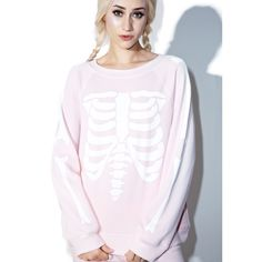 Wildfox Couture Pink Inside Out Kim's Sweater ($108) ❤ liked on Polyvore featuring tops, sweaters, pink top, pink sweater, graphic pullover sweater, fleece pullover and pink long sleeve top