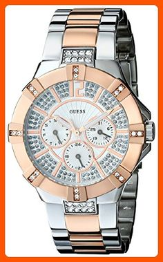 GUESS Women's U0024L1 Dazzling Silver & Rose-Gold-Tone Sport Watch - All about women (*Amazon Partner-Link)