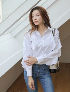 Korean Women`s Fashion Shopping Mall, Styleonme. White Shirt Outfits, Basic Outfits, Girl Outfits, White Shirts, Korean Girl Fashion, Asian Fashion, Womens Fashion, Gothic Corset Dresses, Cute Asian Girls